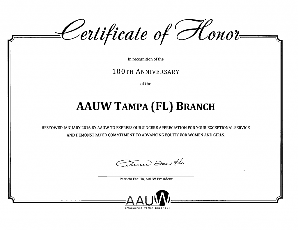 Certificate in honor of the 100th anniversary of the founding in the AAUW Tampa (FL) branch